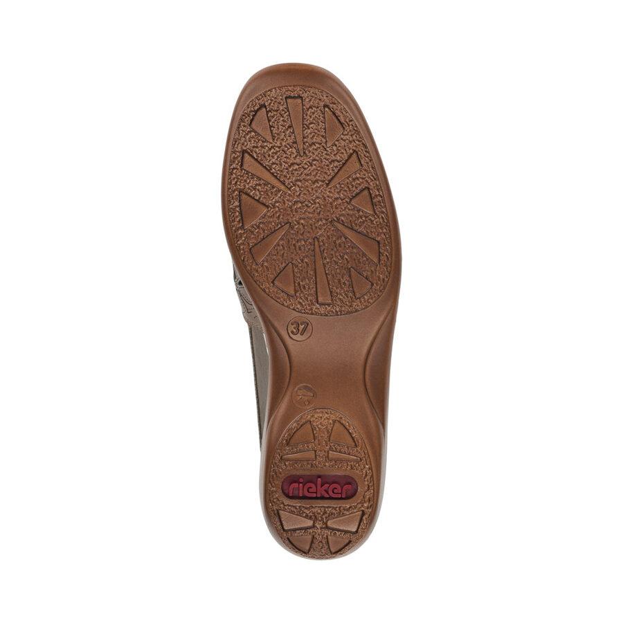 Rieker ādas apavi, sieviešu vasaras kurpes, pelēkbrūnas zandales