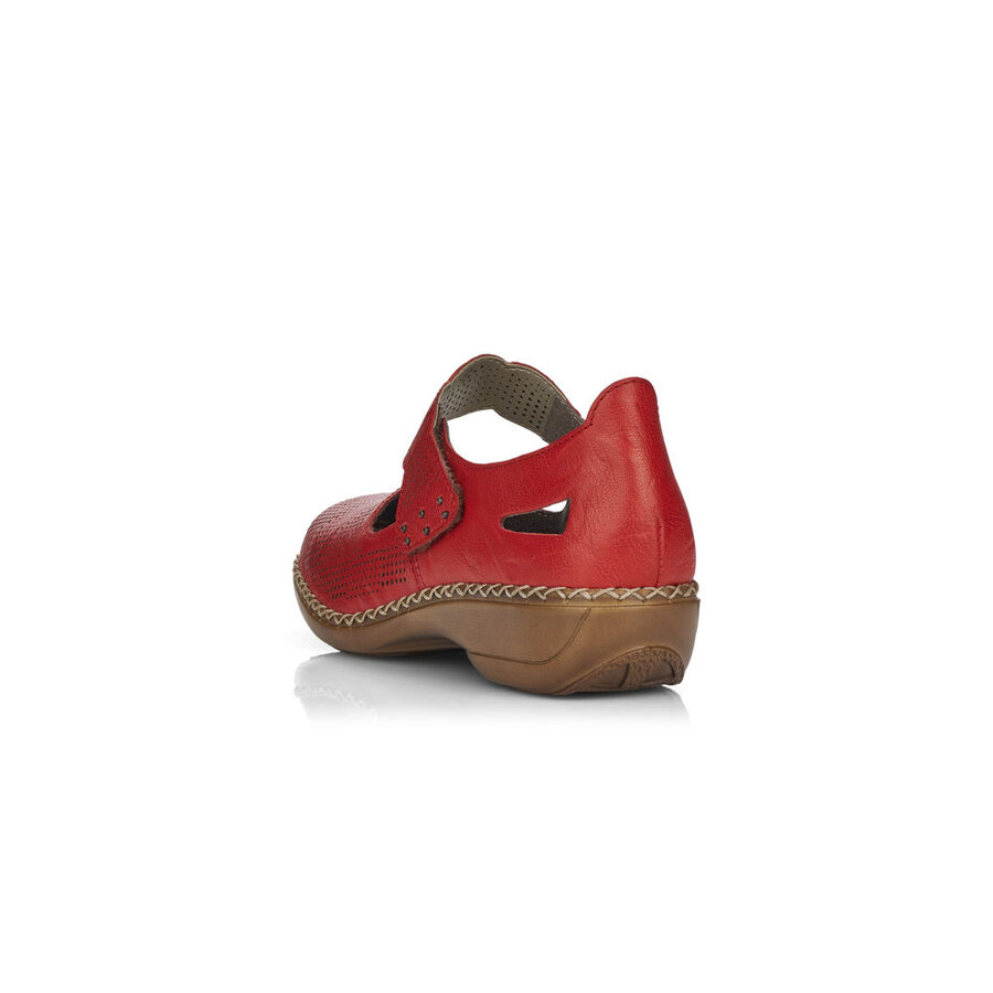 Rieker ādas apavi, sarkanas sieviešu pavasara/vasaras kurpes