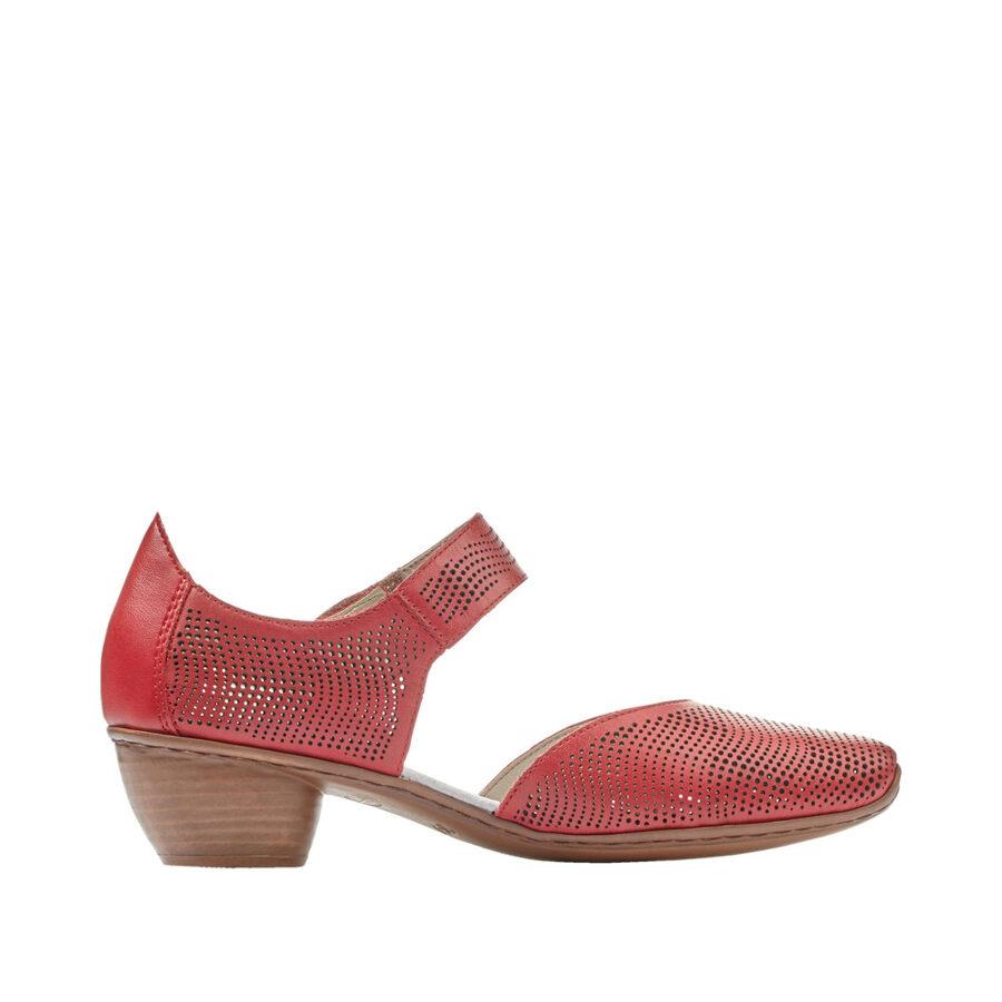 Rieker ādas apavi, sarkanas sieviešu vasaras, pavasara kurpes