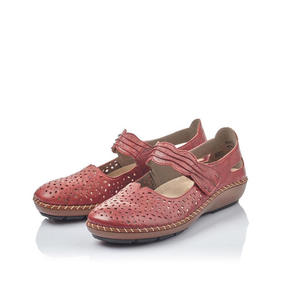 Rieker ādas apavi, tumši sarkanas sieviešu pavasara/ vasaras kurpes
