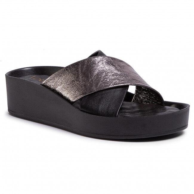 Loretta Vitale ādas apavi, melnas ar platīna krāsu sieviešu iešļūcenes