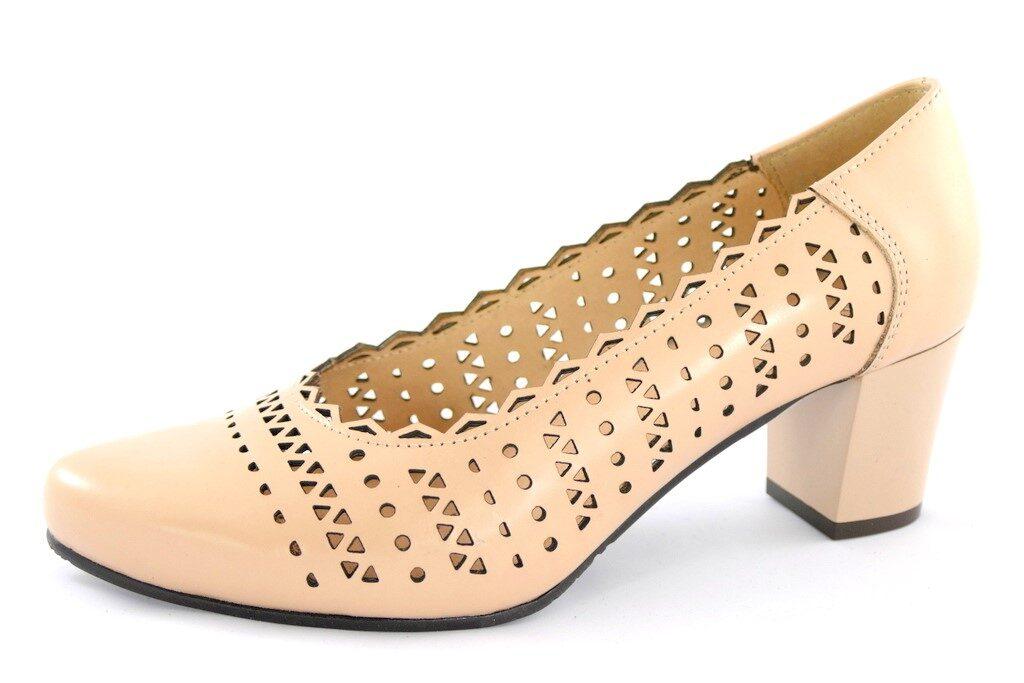Grodecki ādas apavi, sieviešu bēšas krāsas augstpapēžu laiviņas