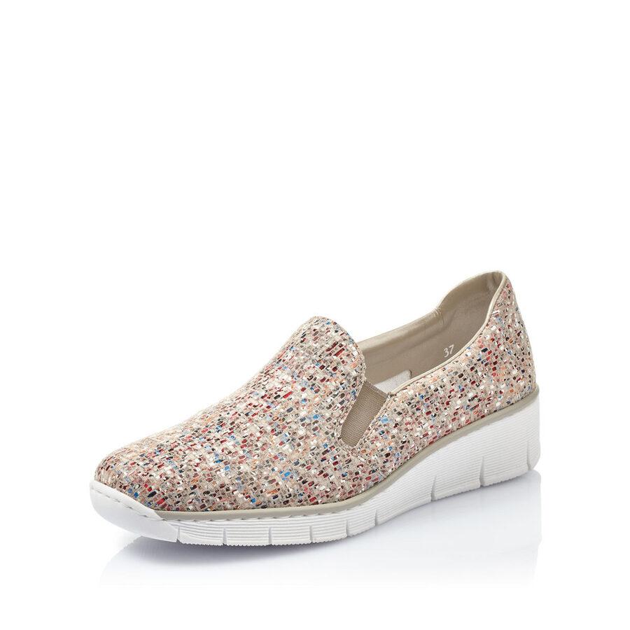 Rieker ādas apavi, gaišas, krāsainas sieviešu slēgtās kurpes