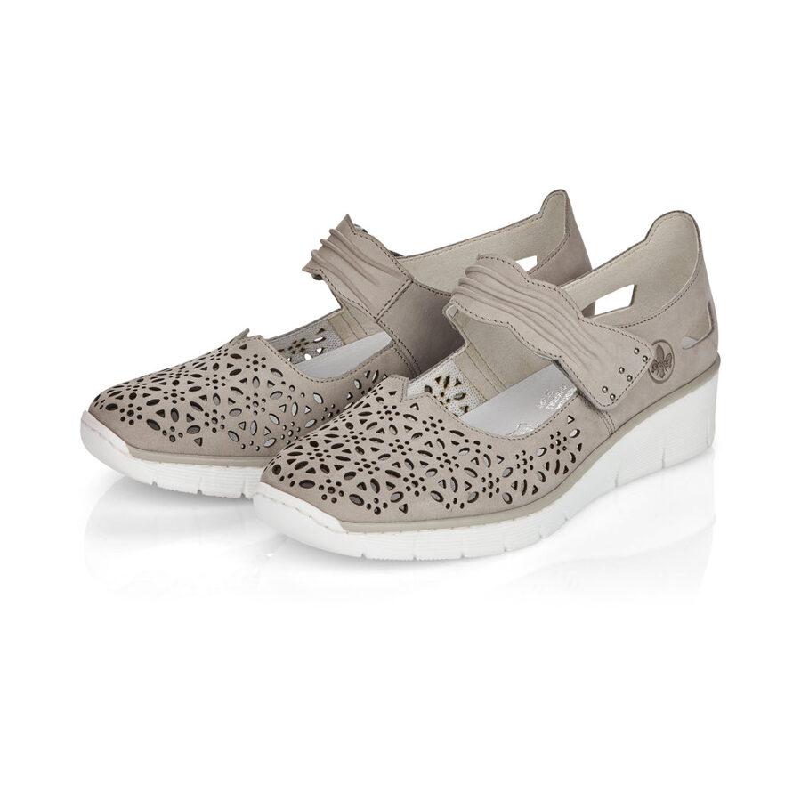 Rieker ādas apavi, gaiši pelēkas sieviešu pavasara/vasaras kurpes