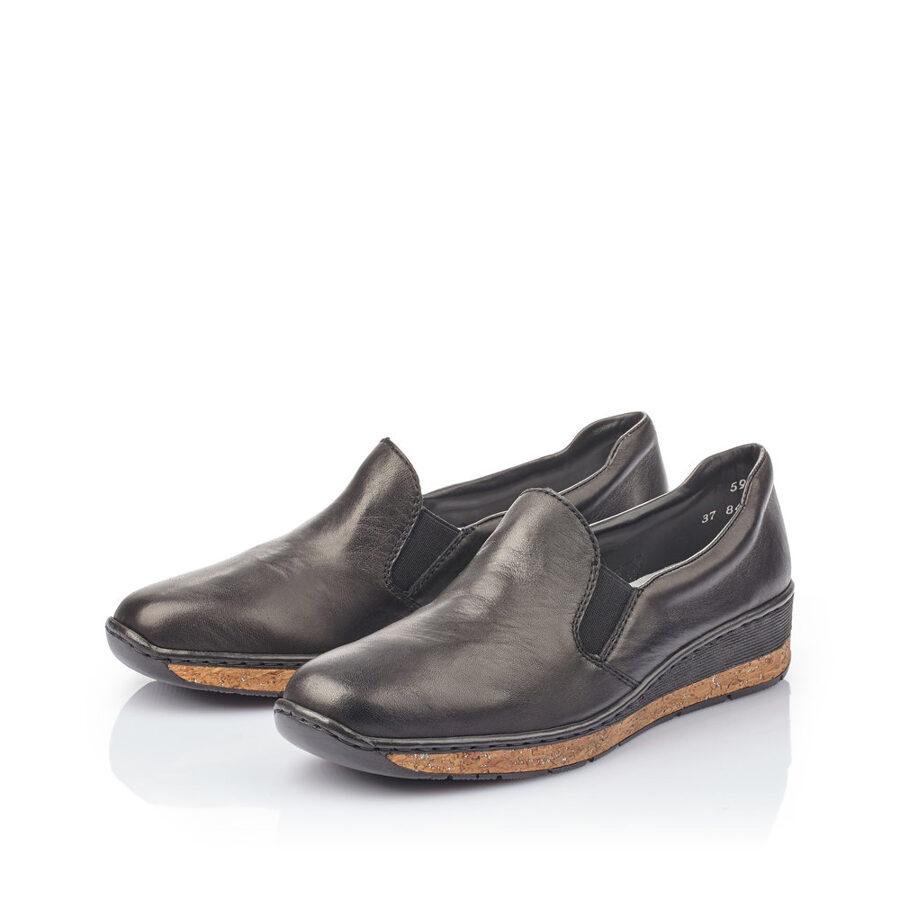 Rieker ādas apavi, melnas sieviešu slēgtās kurpes