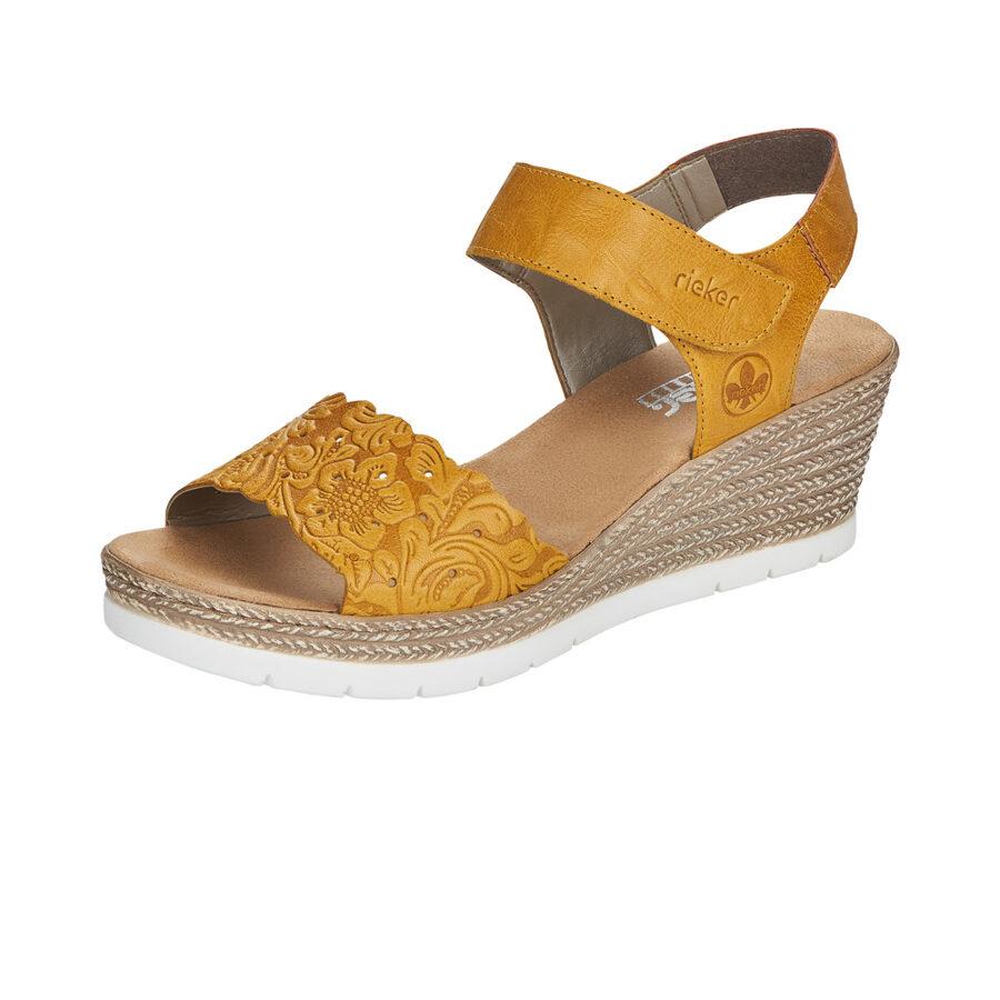 Rieker ādas apavi, dzeltenas zandales, sieviešu vasaras kurpes
