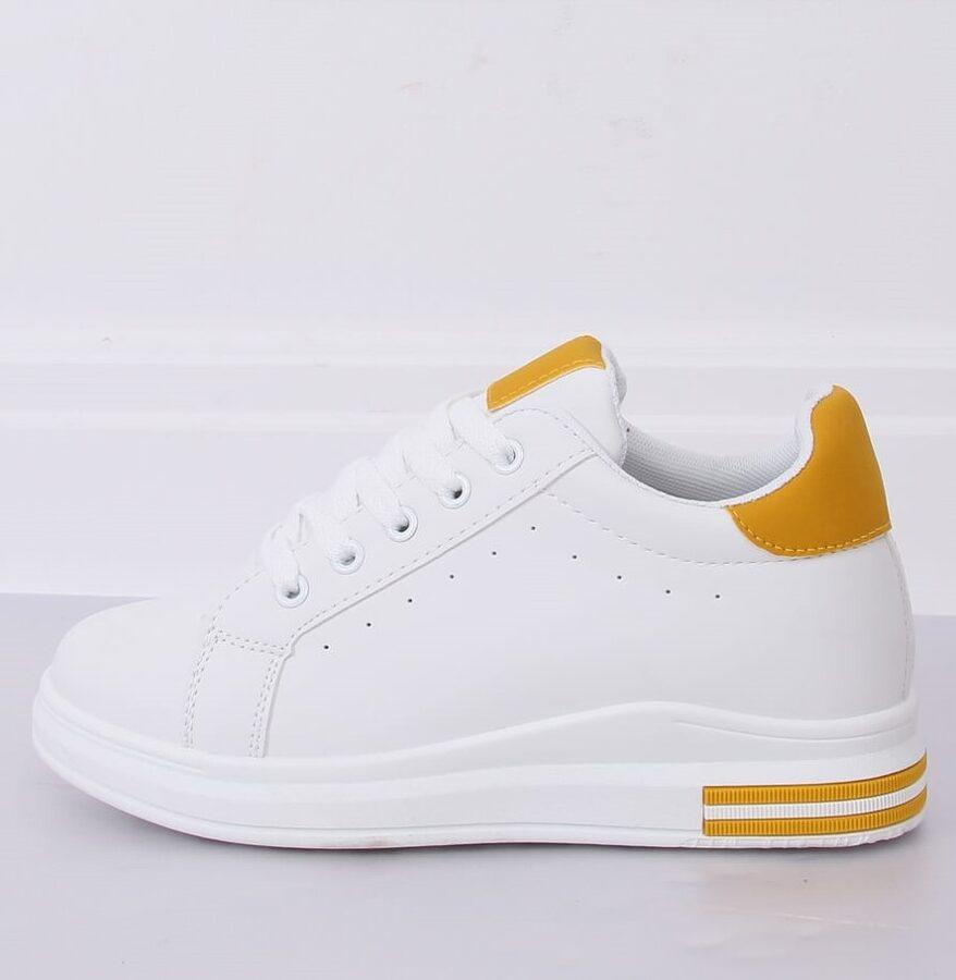 Sieviešu sneakers, balti ar dzeltenu brīvā laika apavi