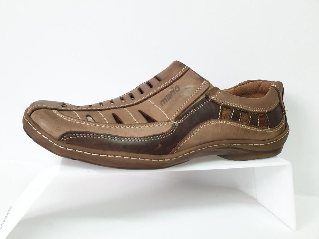 Mario Pala ādas apavi, brūnas vīriešu vasaras kurpes