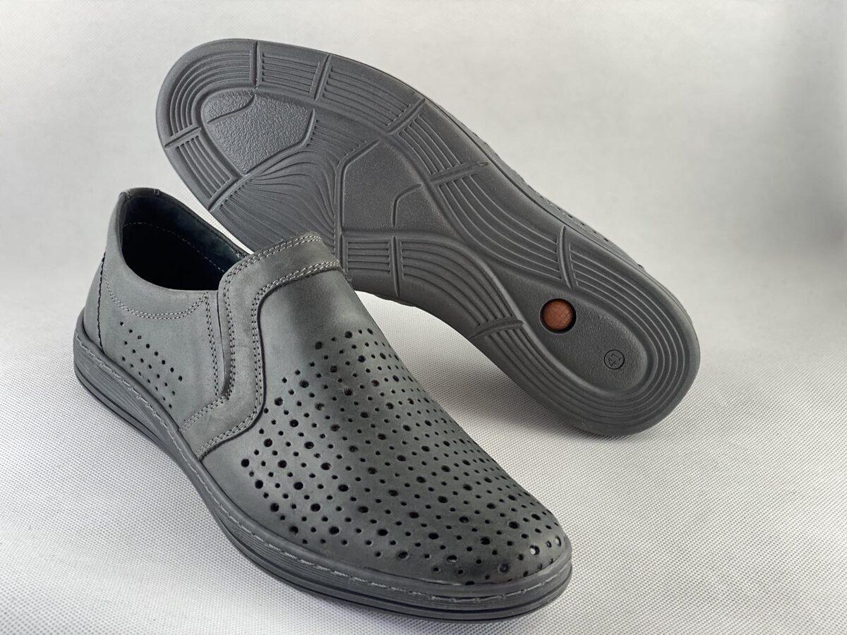 Mario Pala ādas apavi, pelēkas vīriešu vasaras kurpes