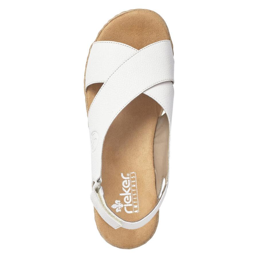 Rieker ādas apavi, sieviešu vasaras kurpes, baltas zandales
