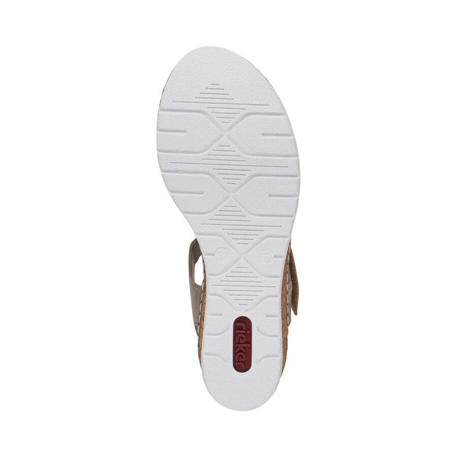 Rieker ādas apavi, sieviešu vasaras kurpes, bēšas zandales
