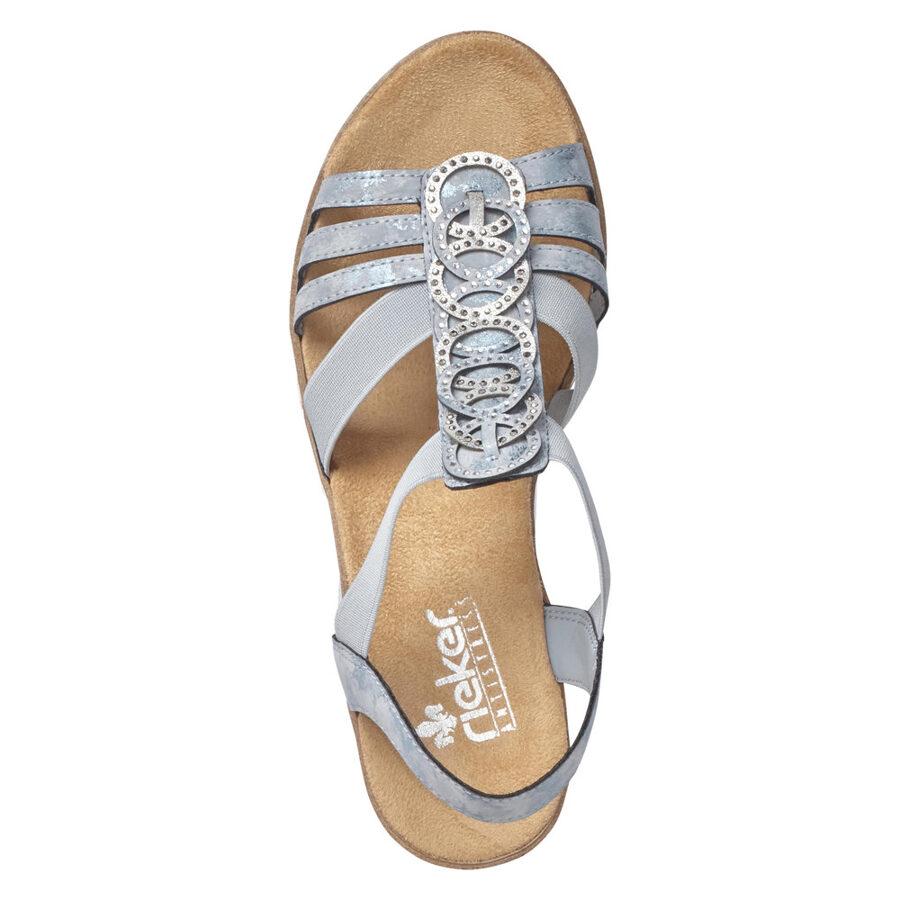 Rieker apavi, sieviešu vasaras kurpes, gaiši zilas zandales