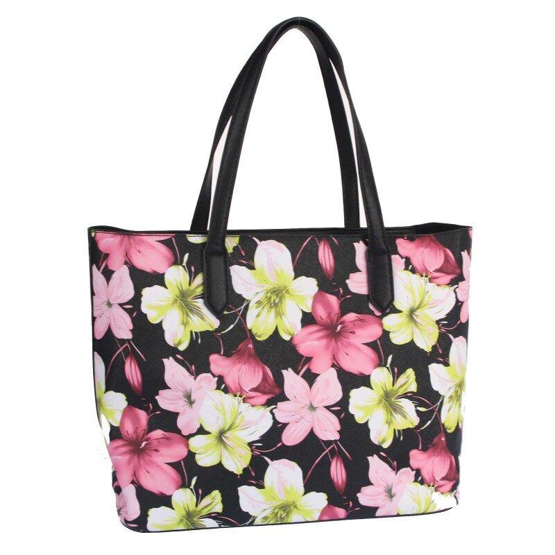 Max&Enjoy melna, puķaina sieviešu soma