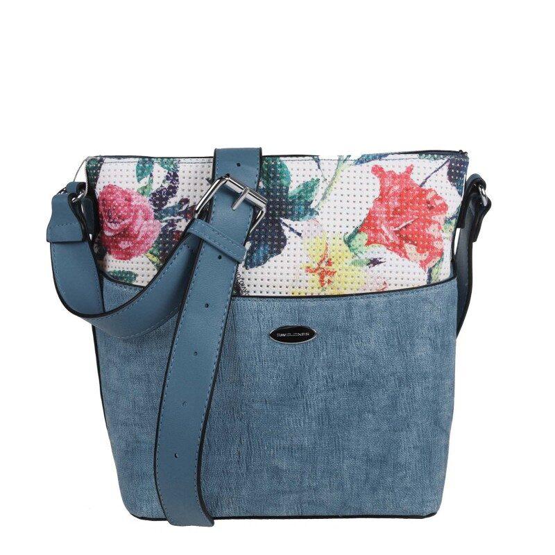 David Jones sieviešu zila ar ziediem plecu/ceļojuma soma
