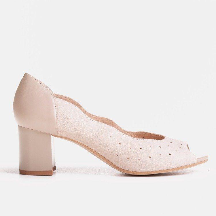 Marco ādas apavi, sieviešu bēšas augstpapēžu laiviņas