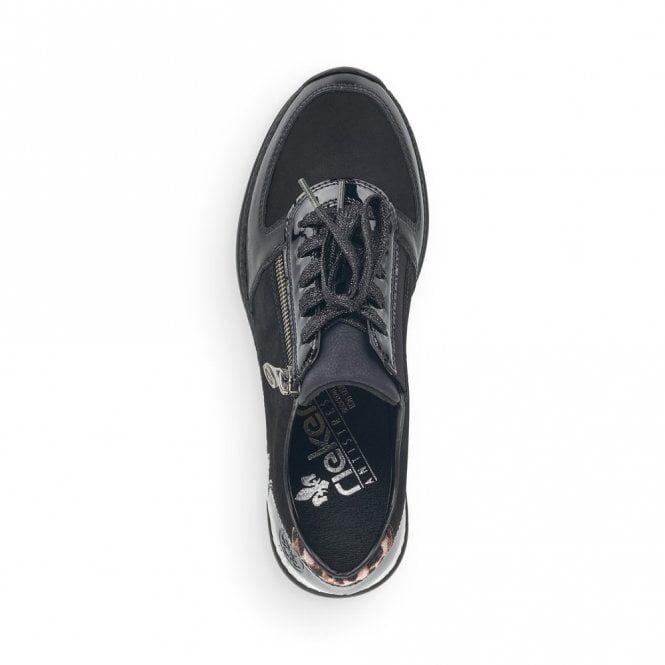 Rieker ādas apavi, melnas sieviešu sneakers, krosa kurpes