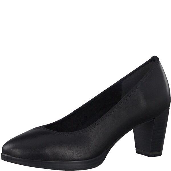Marco Tozzi ādas apavi, sieviešu melnas augstpapēžu kurpes