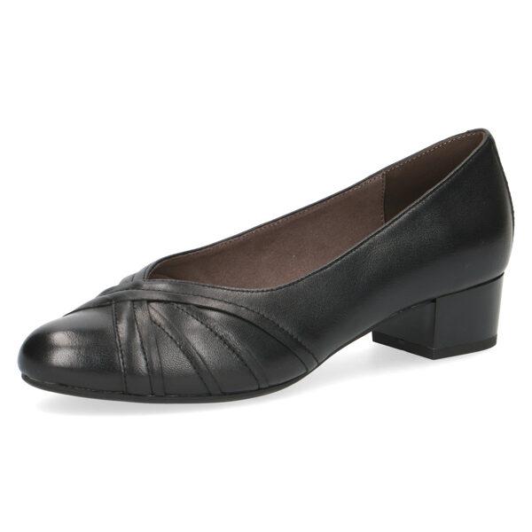 Caprice apavi, sieviešu melnas ādas kurpes, laiviņas