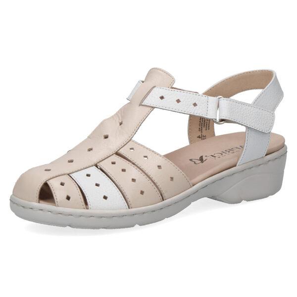 Caprice ādas apavi, bēšas ar baltu zandales, sieviešu vasaras kurpes