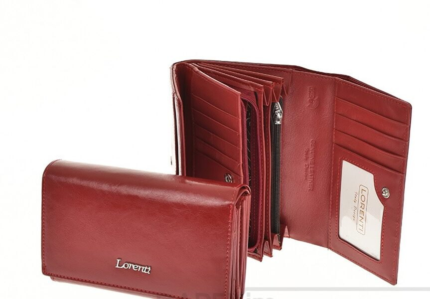 Lorenti sarkans, dabīgās ādas sieviešu maks