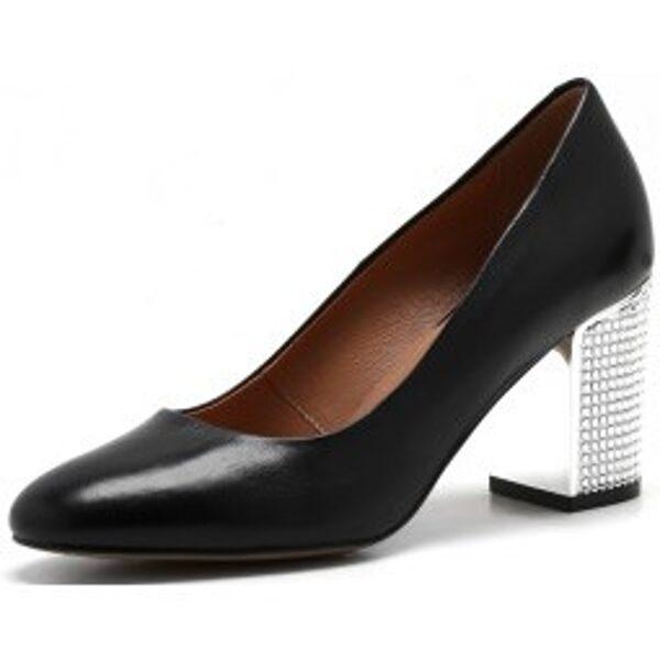 Szydlowski ādas apavi, sieviešu melnas augstpapēžu laiviņas