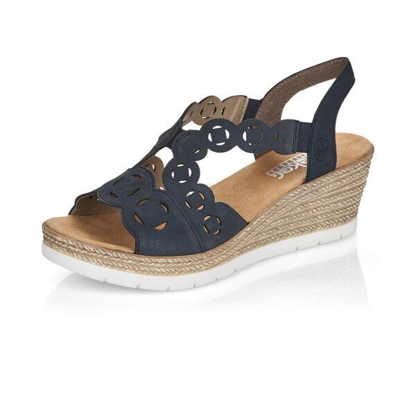 Rieker ādas apavi, sieviešu vasaras kurpes, zilas zandales