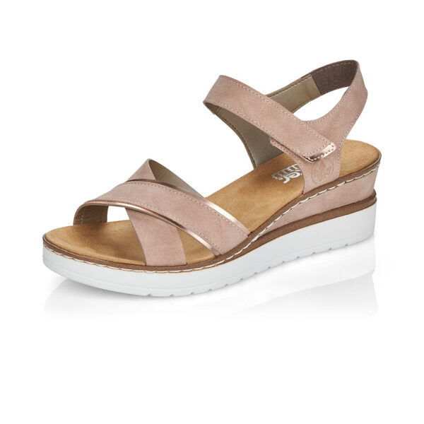 Rieker apavi, sieviešu vasaras kurpes, rozā zandales