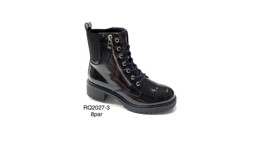Stilīgi sieviešu apavi, melni šņorzābaki